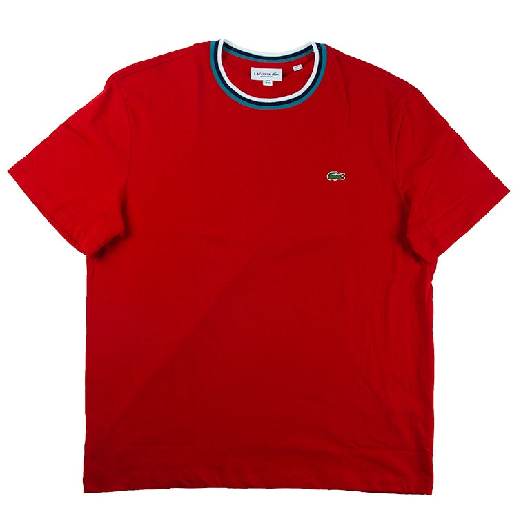 Lacoste Red Crew Neck Cotton T-shirt