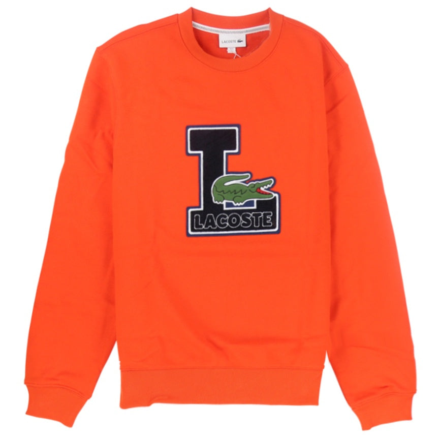 Lacoste Crew Neck Badge Fleece Orange Sweatshirt