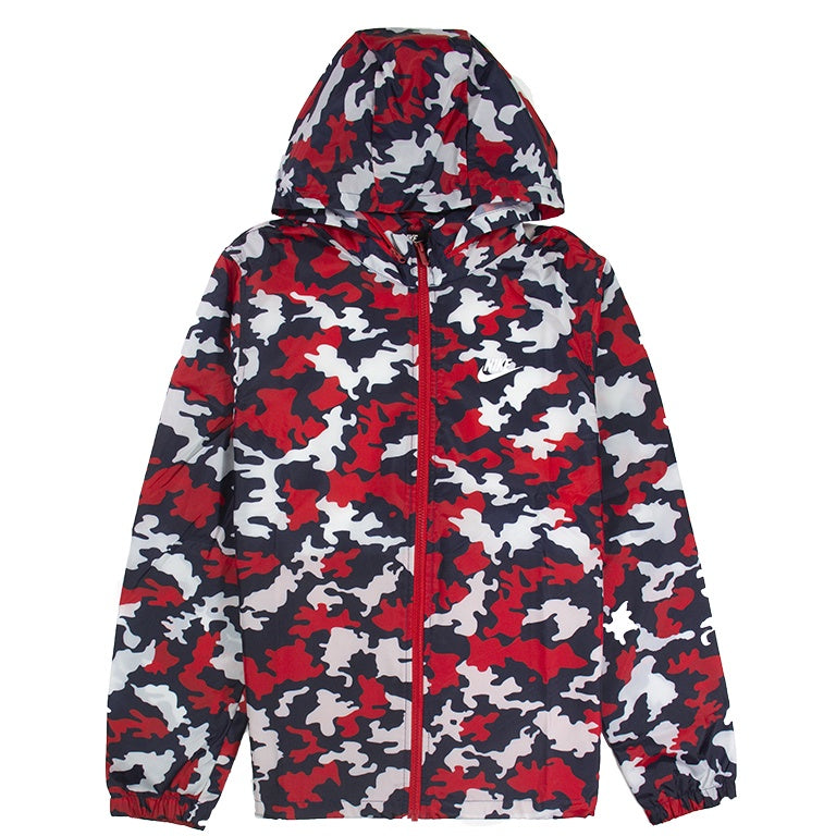 Nike Sportswear Hooded Camo Red Jacket
