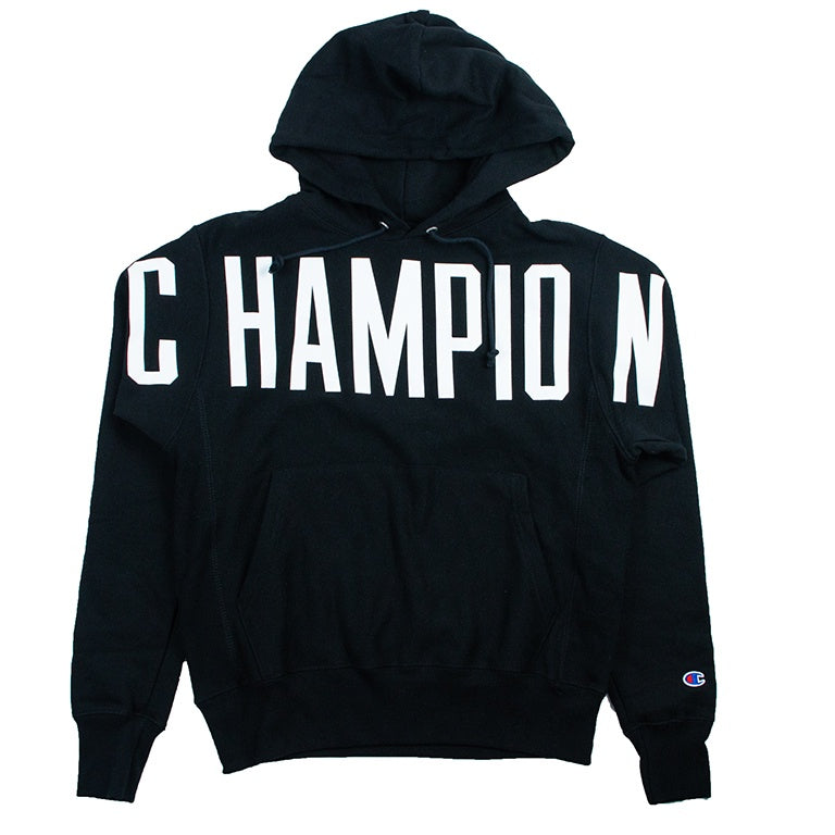 512410049961 Champion Reverse Weave Black Oversized Script Hoodie – Puffer Reds