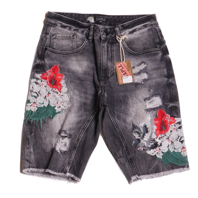 Staple Men's Flower Jean Cut-Off Shorts