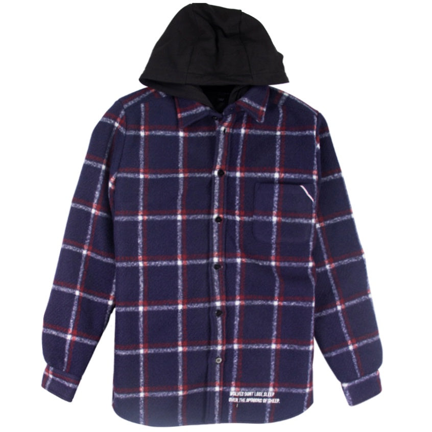Cult Of Individuality Plaid Shirt Wool Jacket