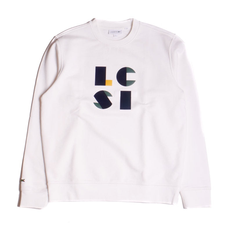 Lacoste Men's White Lettering Cotton Fleece Sweatshirt