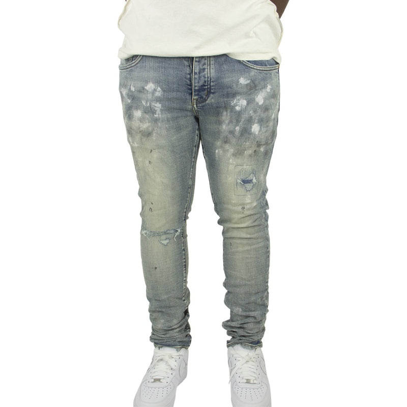 Purple Brand Light Indigo Paint Blowout Denim Jeans