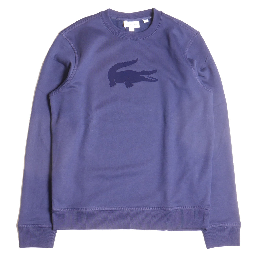 Lacoste Men's Long Sleeve Navy Velvet Croc Crew Neck Sweatshirt