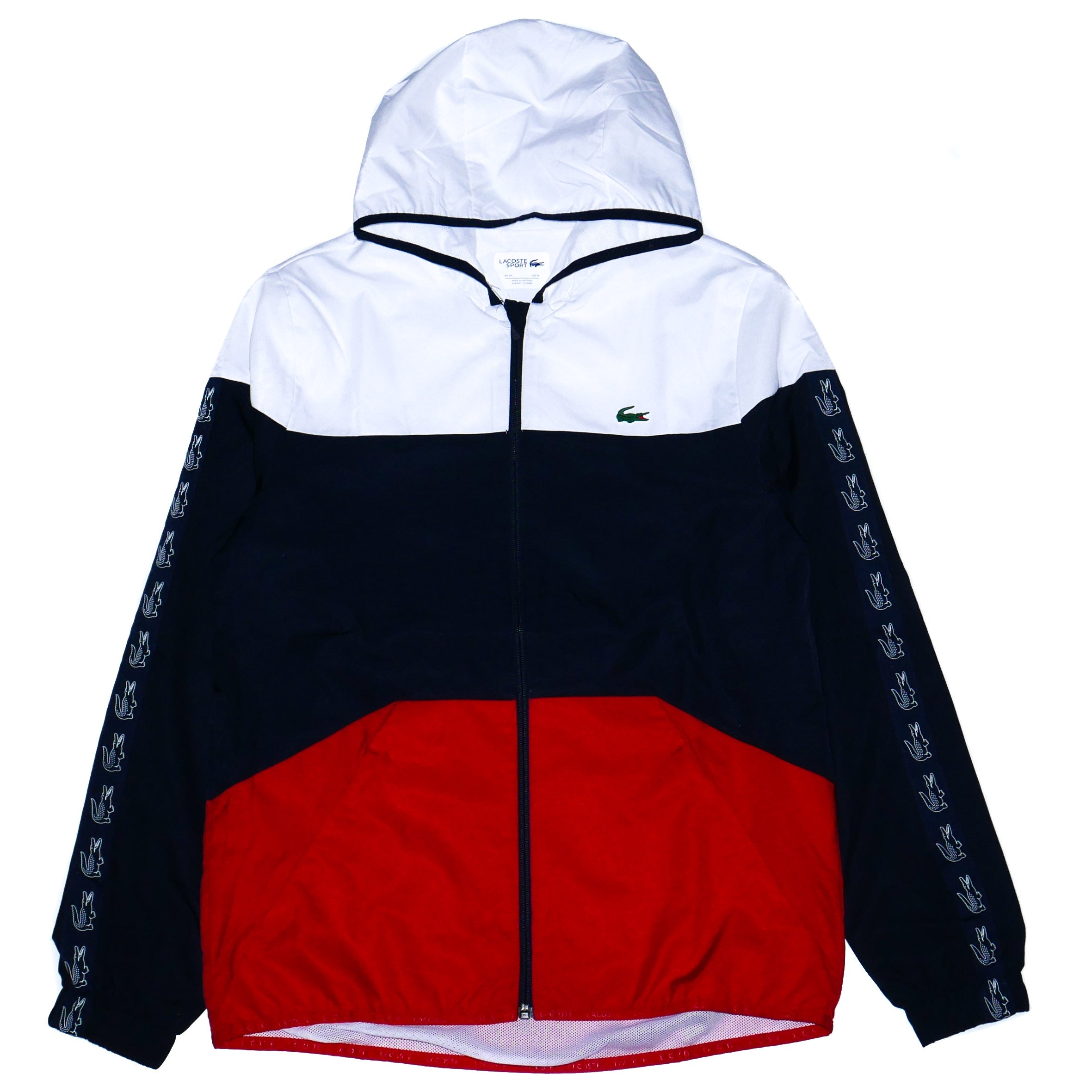 2f004d7bab Lacoste Sport Men's Hooded Tennis Jacket Red/White/Blue