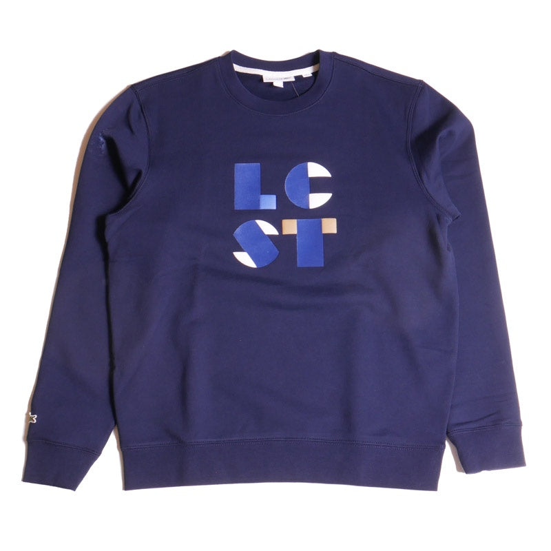 Lacoste Men's Navy Lettering Cotton Fleece Sweatshirt