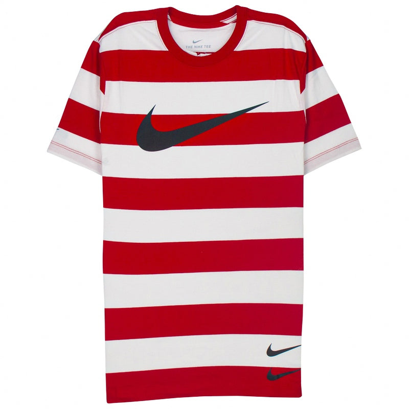 Nike Swoosh Striped T-Shirt 'Red/White'