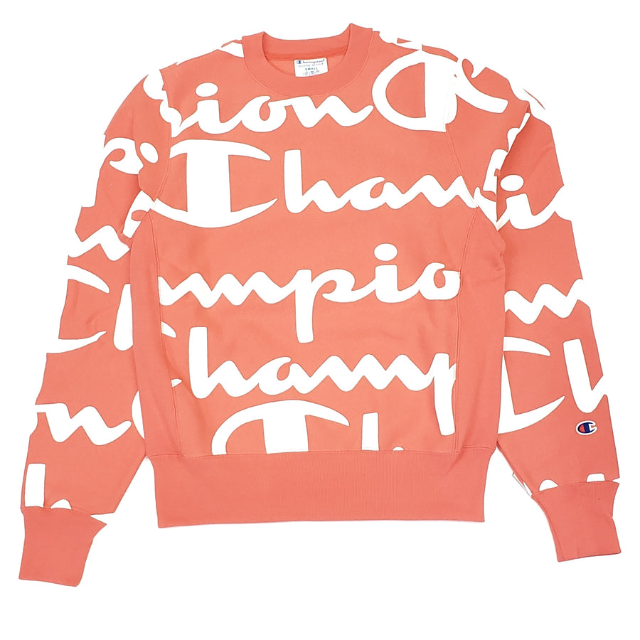 Champion Reverse Weave Crew Pink Giant CHP Script