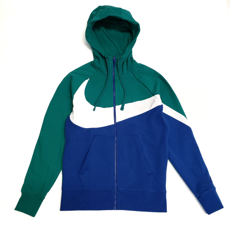 Nike Men's NSW Full-Zip Green Swoosh Hoodie