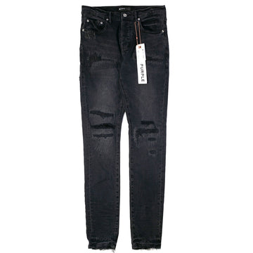 Purple Brand Black Wash Reflective Repair Jeans