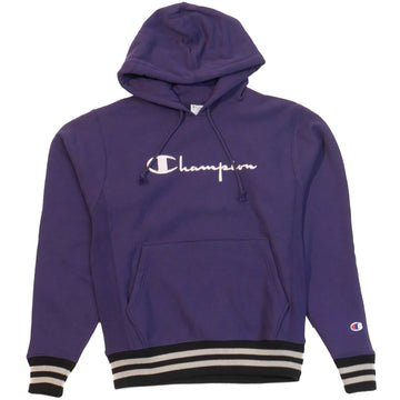Champion Reverse Weave Navy Rib Trim Pullover Hoodie