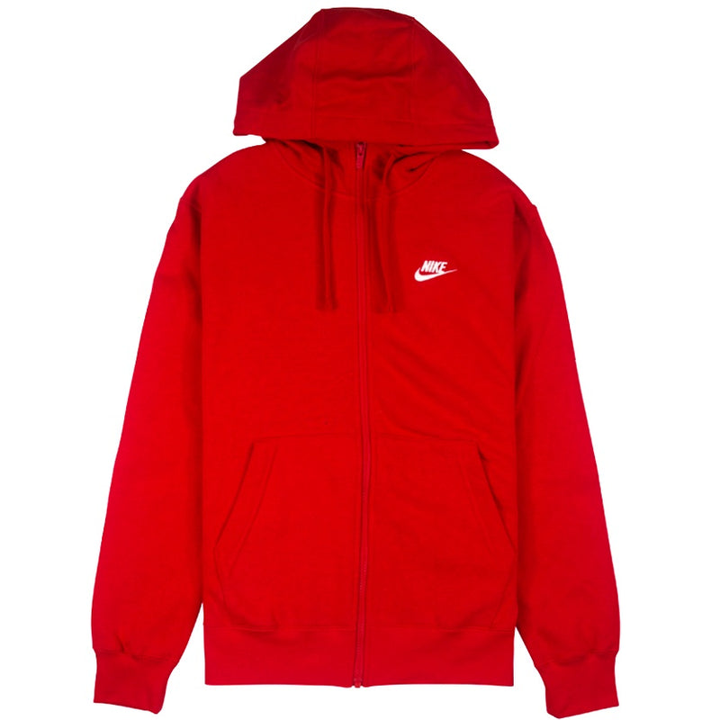 Nike Sportswear Club Fleece Full-Zip Red Hoodie