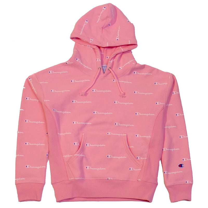 Champion Women's Reverse Weave Pink Champion Script Pullover Hoodie