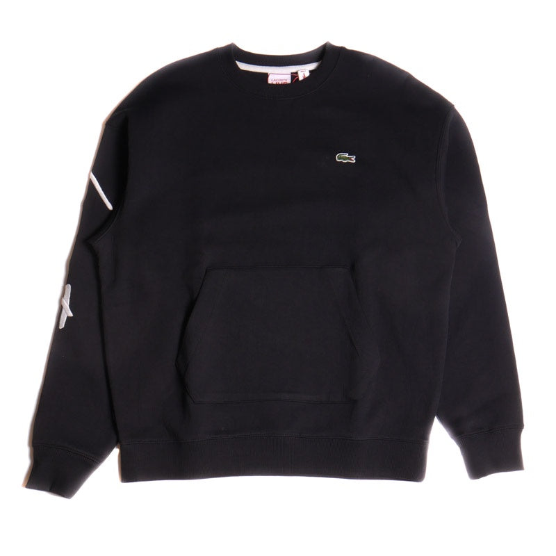Lacoste Unisex Black Live Crewneck Embroidered Fleece Sweatshirt