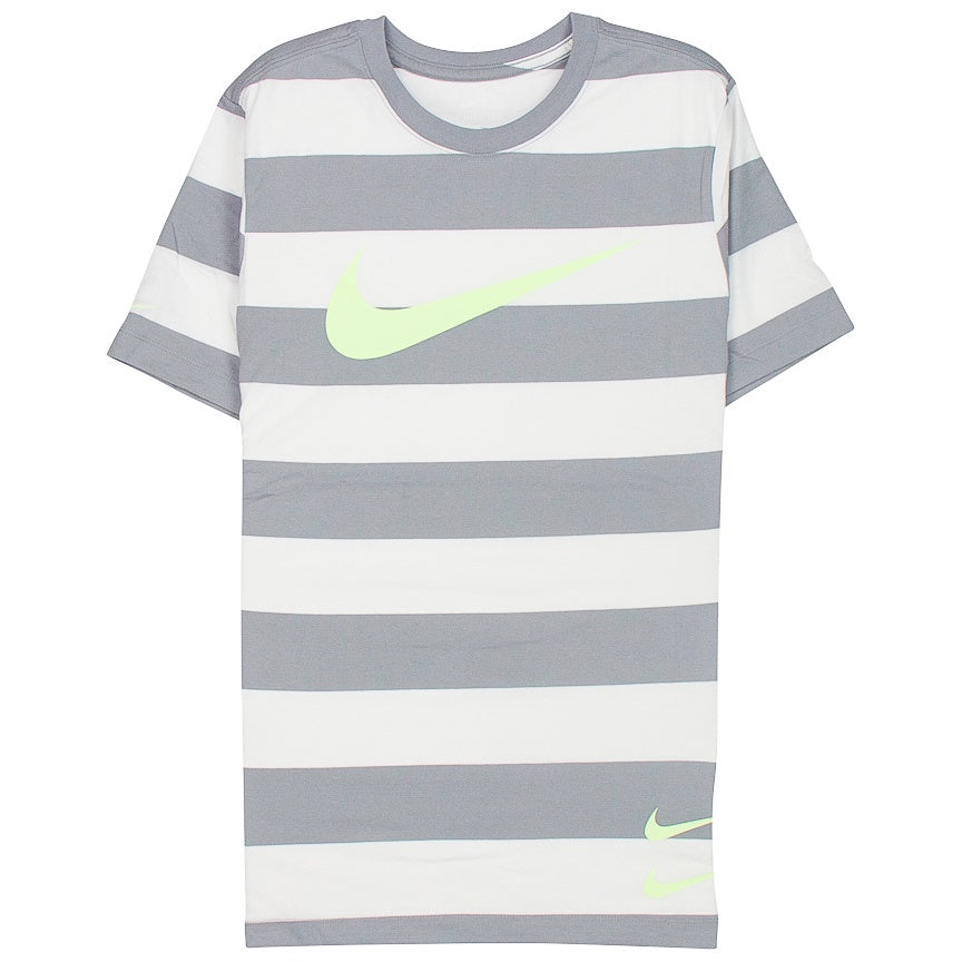 Nike Swoosh Striped T-Shirt 'Grey/White'
