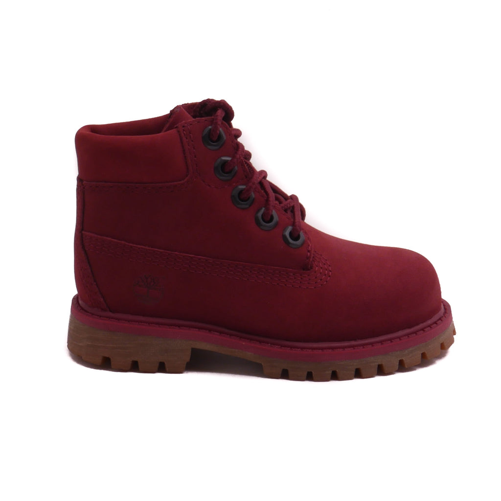 "Timberland 6"" Kid's Burgundy Nubuck Premium Boot (PS)"