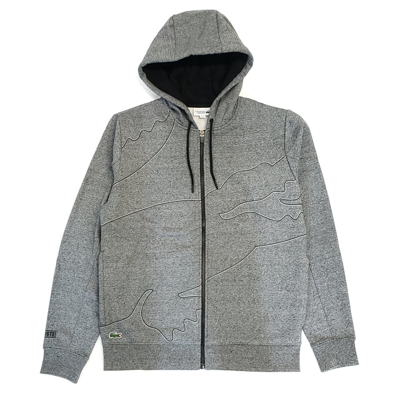 Lacoste Sport Grey Outlined Big Croc Full-Zip Hoodie