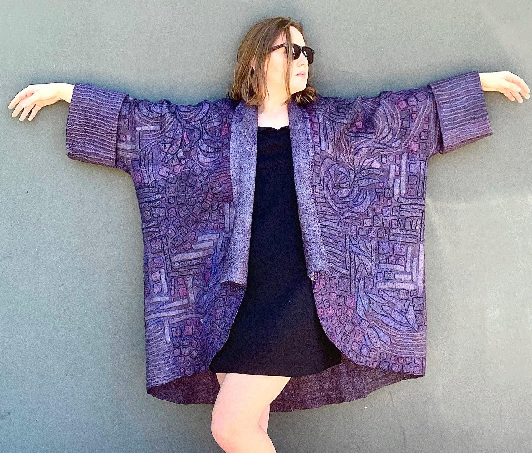 Hand Felted Wearable Arts Merino Wool Coat by Vera Alexanderova