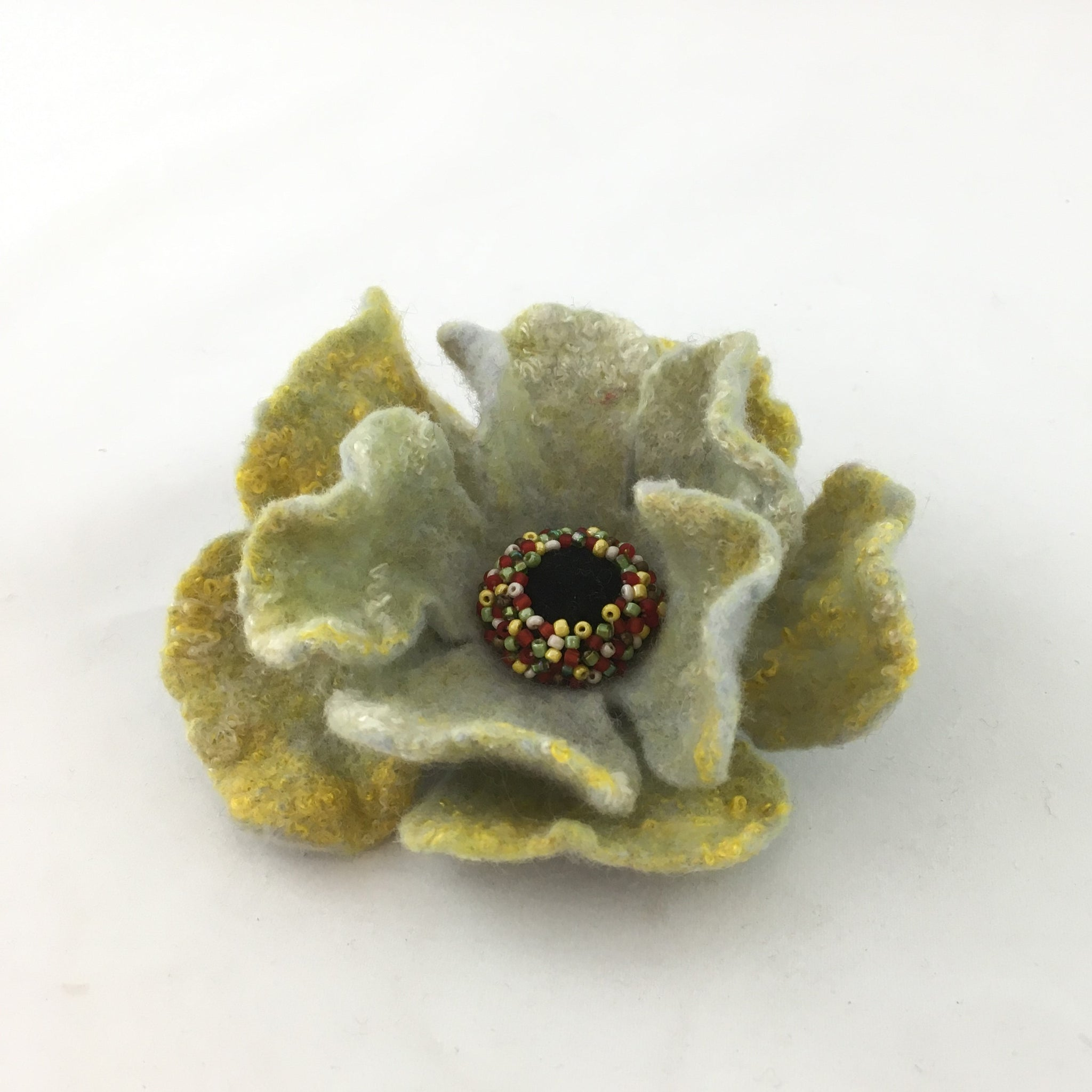 Felted flower brooch by Grace Levis