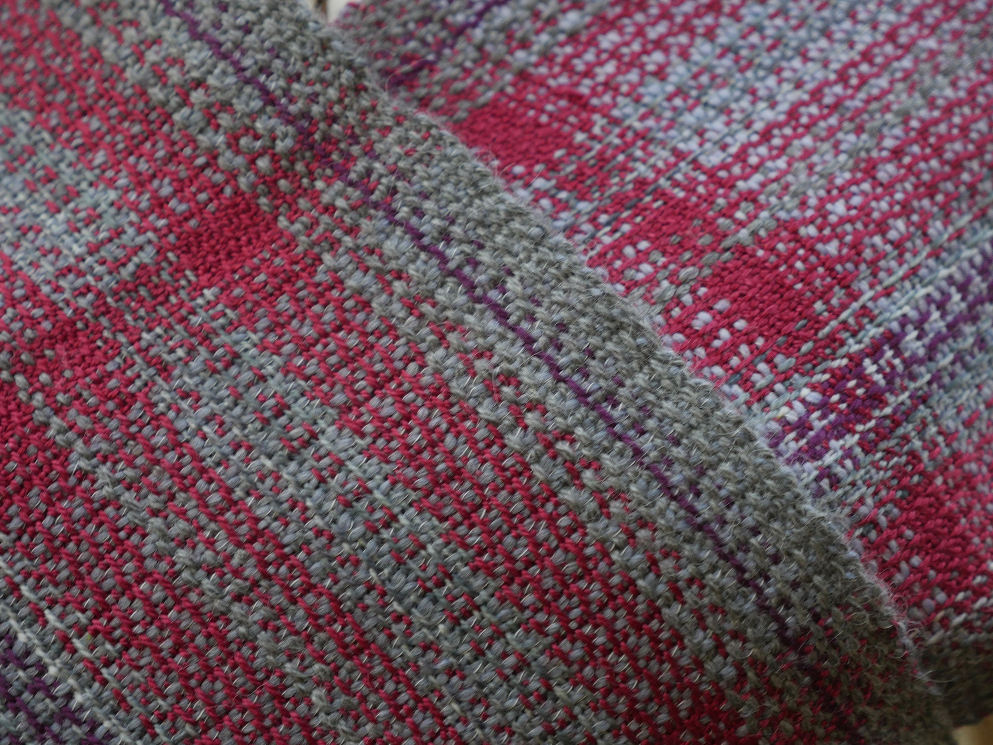 Closeup of Hand woven scarf for man or woman by Vicki Lowery