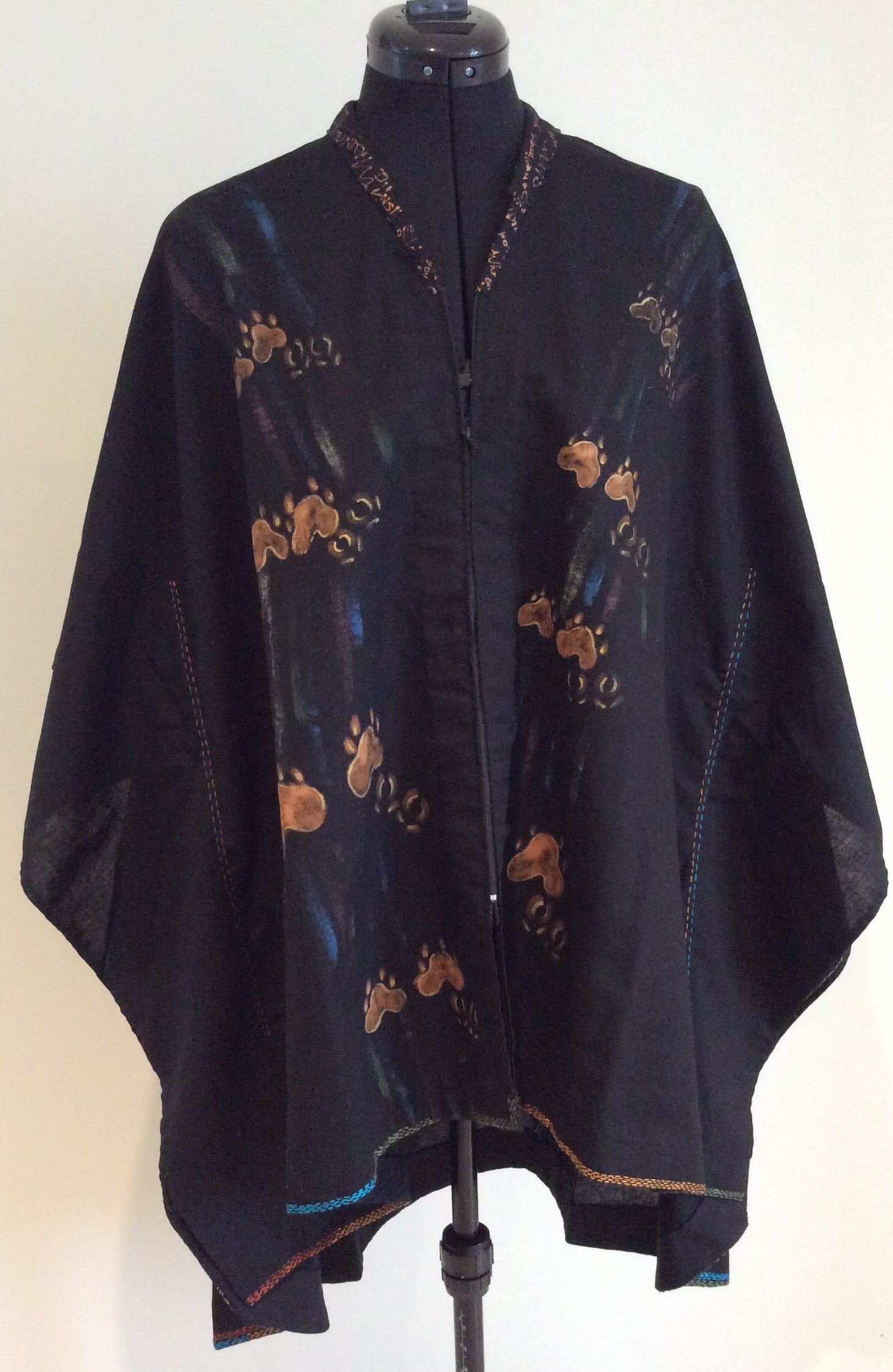 Hand painted and embroidered Cotton Cape-like Tunic front