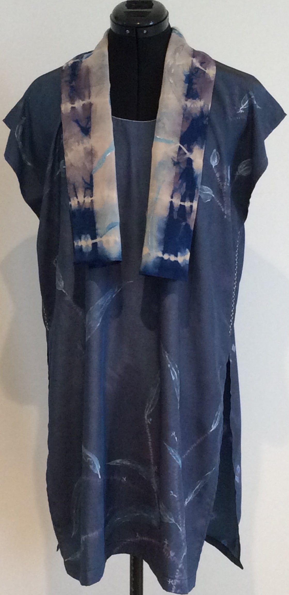 Shibori Tunic in blue Tencel
