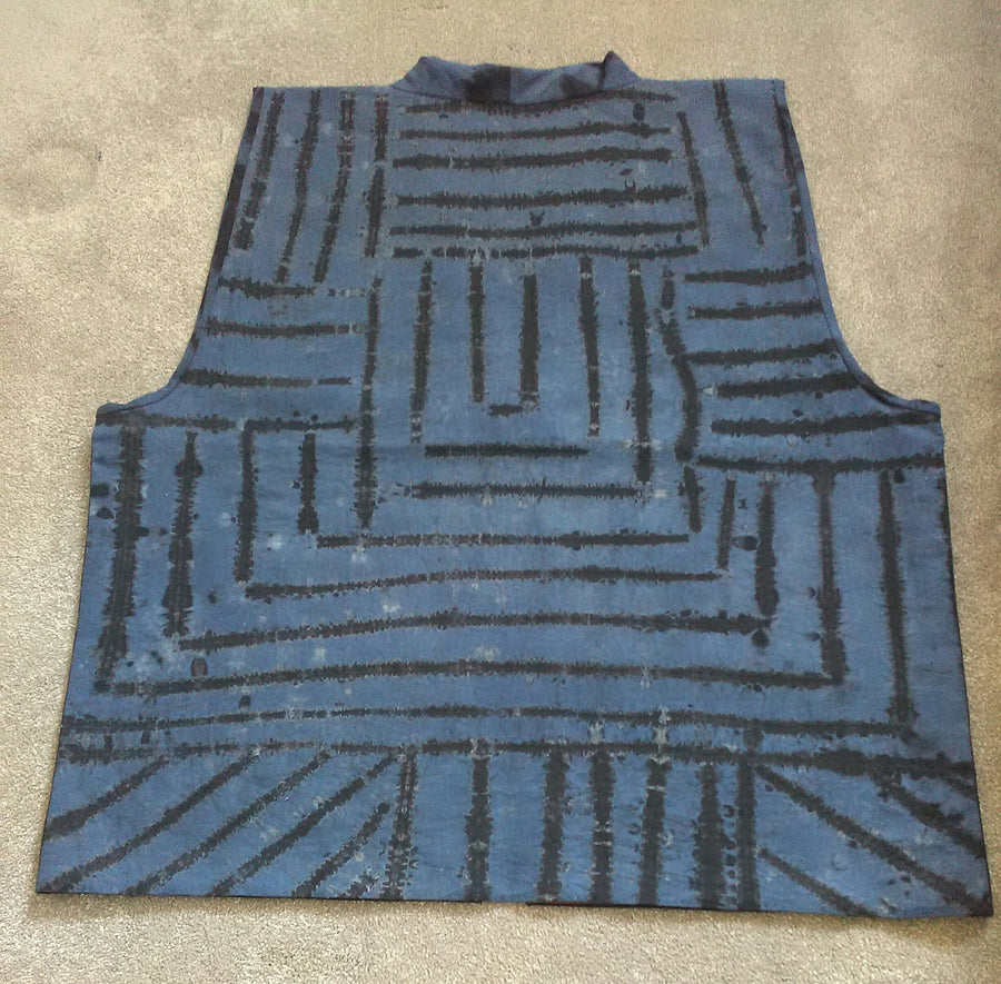 Gents vest in khadi Shibori (front) made by Neelam Singhal.