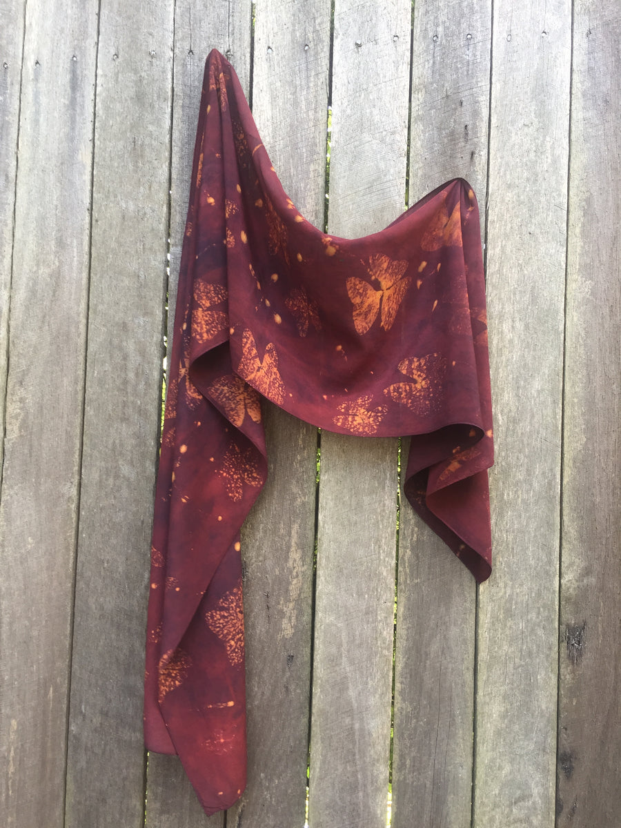 Naturally Dyed and printed scarf by Pam de Groot