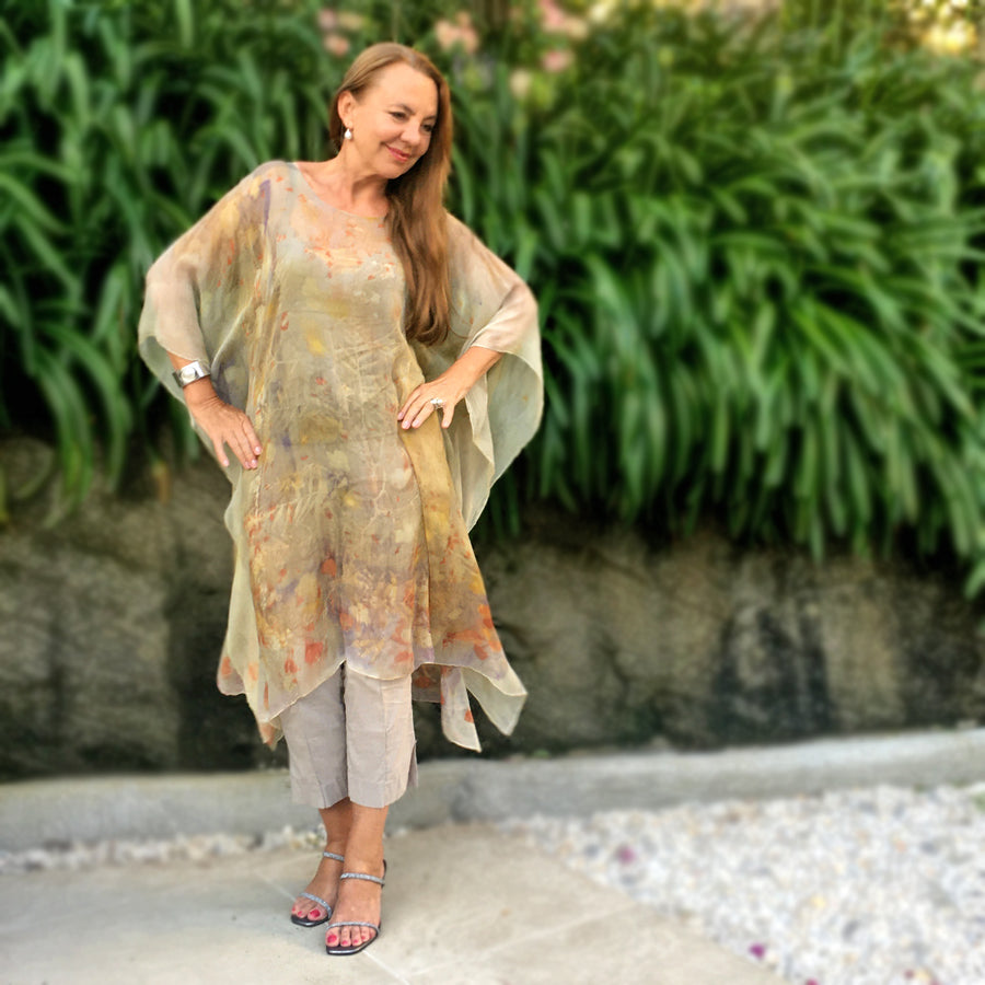 Silk chiffon tunic by Yaja Hadrys
