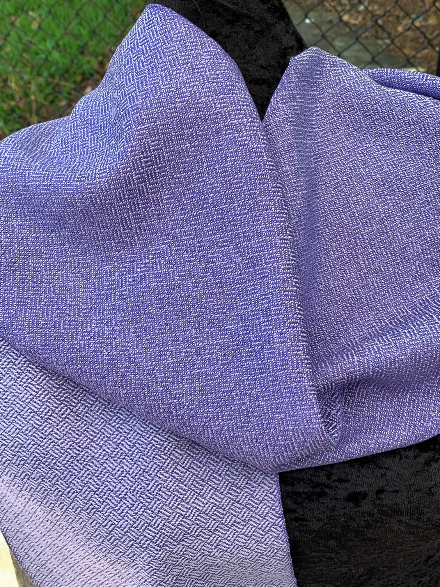 Jacaranda cotton scarf handwoven by Helen Wilder.