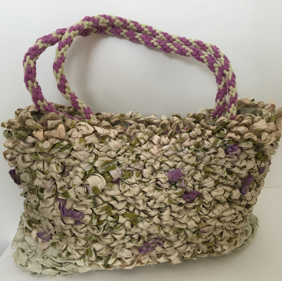 Handbag hand woven by Joy Dodd