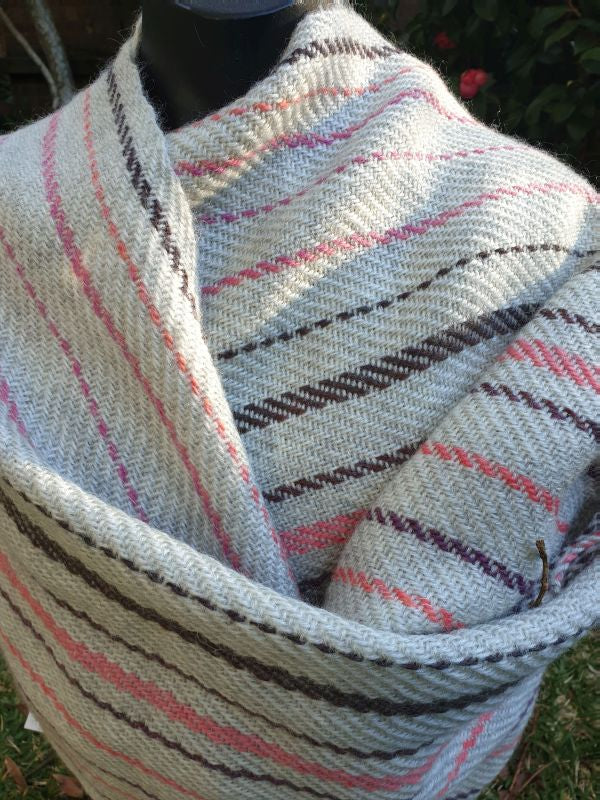 Soft mohair & wool hand woven shawl/wrap