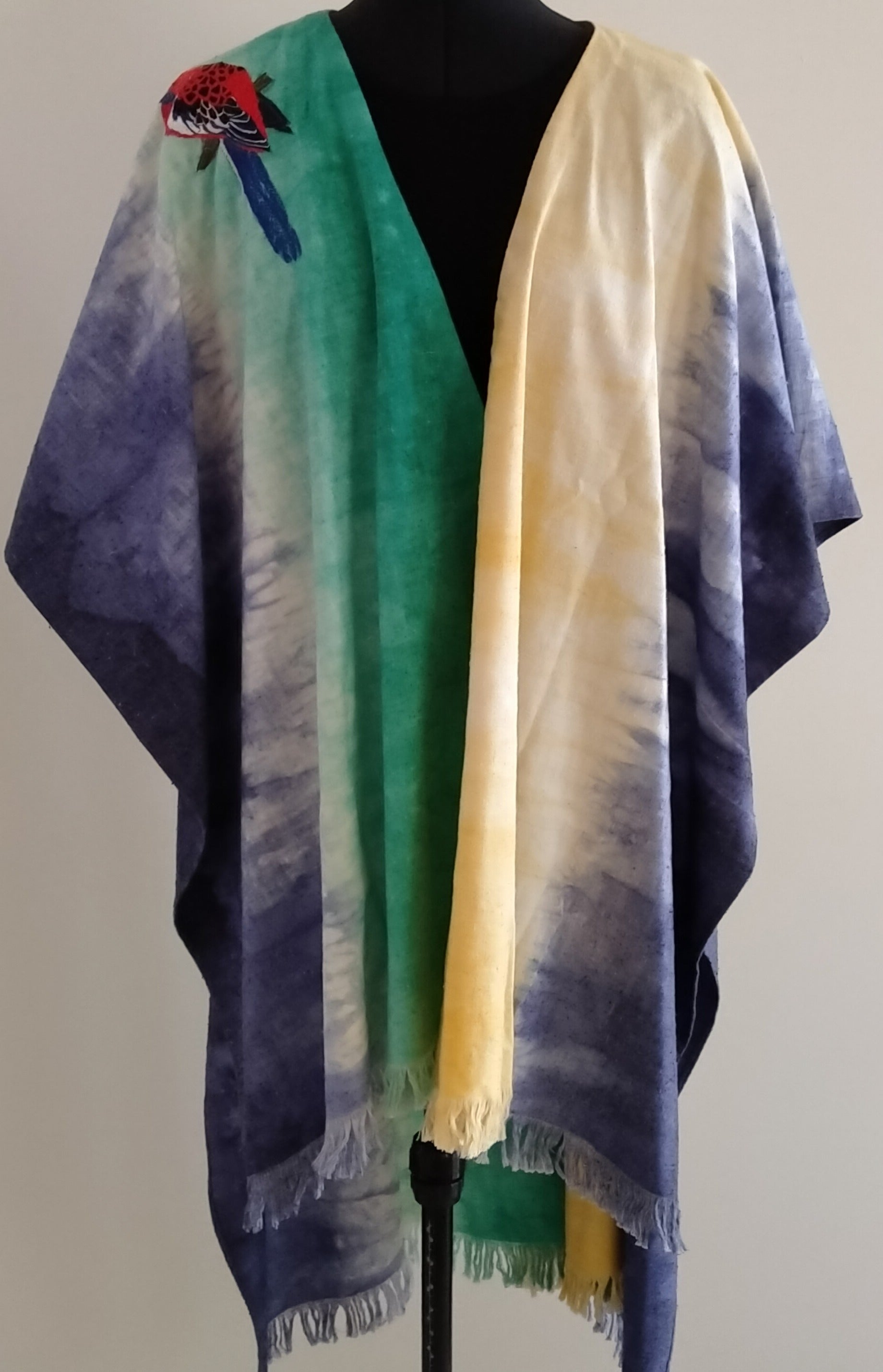 Embroidered Silk Wrap/Cape handmade by Neelam Singhal