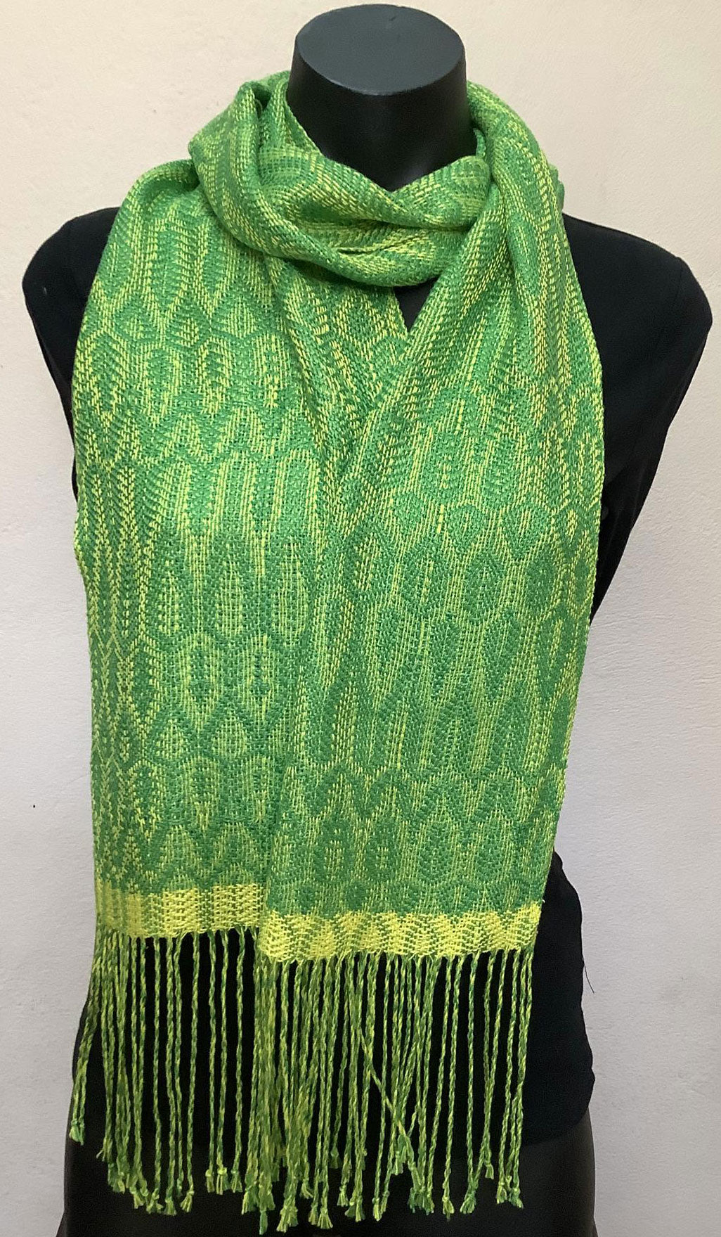 Silk scarf handwoven by Vicki Lowery