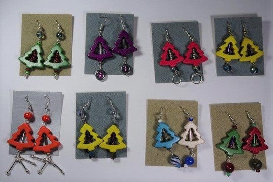 Glass Christmas earrings by Margot Alexander
