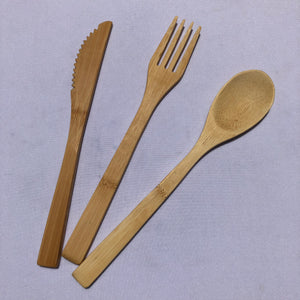 Bamboo Takeaway Cutlery Set w Bag