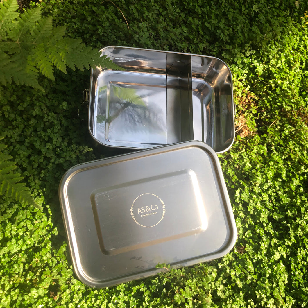 Eco Lunch Box 1200ml Leak-Proof Stainless Steel with Removable Divider