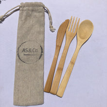 Load image into Gallery viewer, Bamboo Takeaway Cutlery Set w Bag