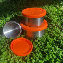 Load image into Gallery viewer, Snack Containers with Silicone Lids 3 Pack Stainless Steel 6cm 8cm 10cm