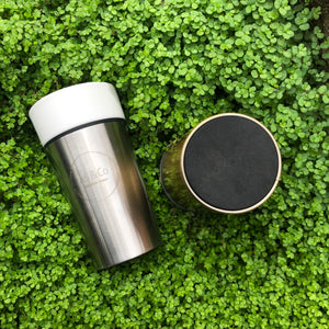 Ceramic Stainless Steel Mug Tea Coffee Travel Takeaway Cup Sustainable Eco Gold Silver