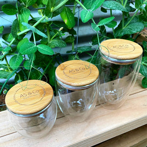 Borosilicate Glass Double Wall 450ml 350ml 250ml Reusable Cup Heat-Resistant w Bamboo Lid