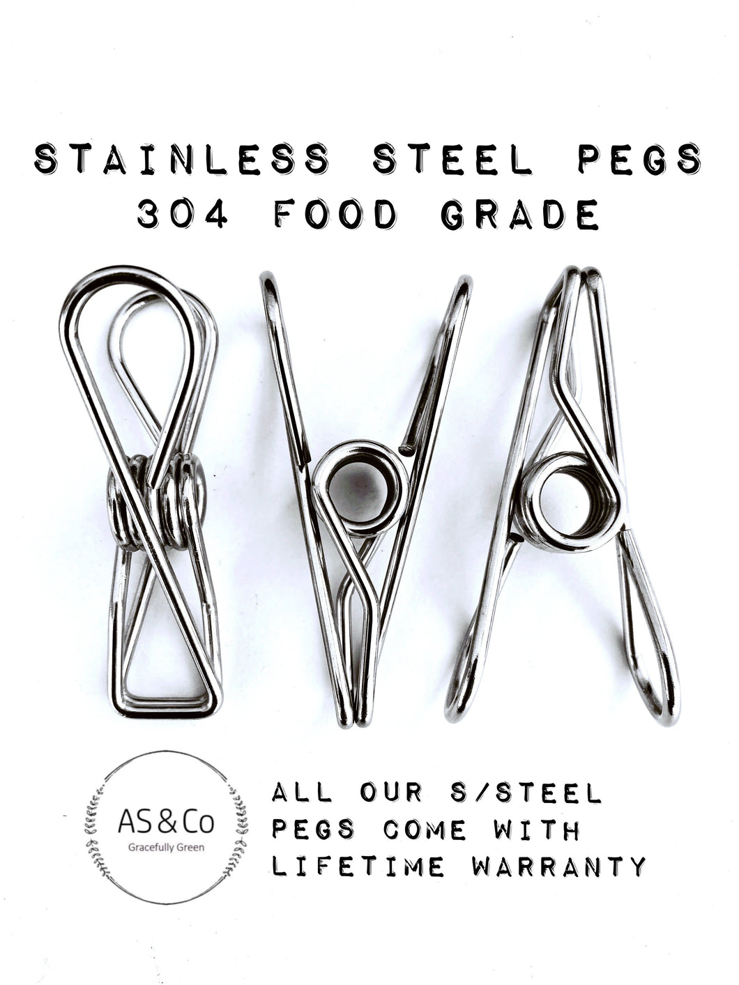 Stainless Steel Wire Clothes & Multipurpose Pegs 50 Pack - 304 S/S