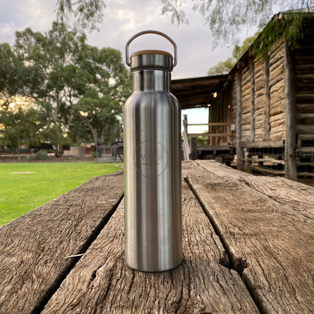 Stainless Steel Insulated 600ml Drink Bottle with Bamboo Top Screw Lid - Silver Unpainted