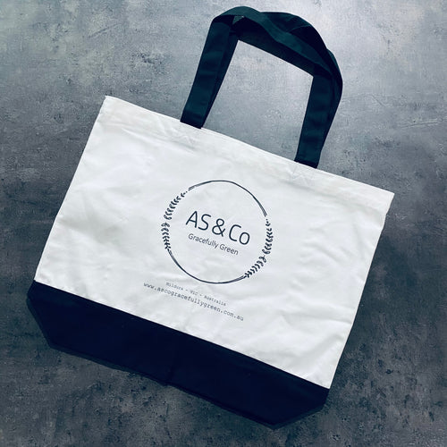 AS & Co Logo 2-Tone Large Cotton Tote Shopping Day Bag