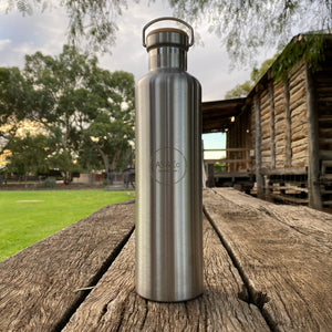 Copy of Stainless Steel Insulated 1000ml 1L Drink Bottle with Bamboo Top Screw Lid - Silver Unpainted