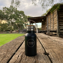 Load image into Gallery viewer, Stainless Steel Insulated 350ml Drink Bottle with Bamboo Top Screw Lid - Black Powder Coated