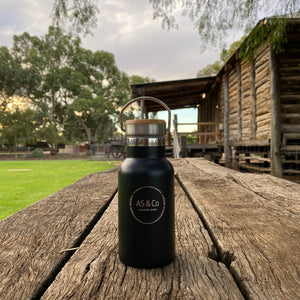 Stainless Steel Insulated 350ml Drink Bottle with Bamboo Top Screw Lid - Black Powder Coated