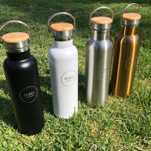 Load image into Gallery viewer, Stainless Steel Insulated 600ml Drink Bottle with Bamboo Top Screw Lid and Handle