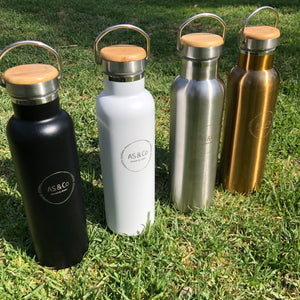 Stainless Steel Insulated 600ml Drink Bottle with Bamboo Top Screw Lid and Handle